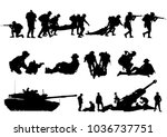 set of military silhouettes ... | Shutterstock .eps vector #1036737751