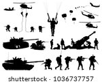 set of military silhouettes ... | Shutterstock .eps vector #1036737757