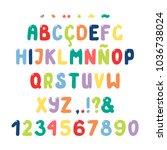 hand drawn cute roman alphabet... | Shutterstock .eps vector #1036738024