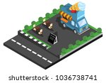 car food and ice cream in the... | Shutterstock .eps vector #1036738741