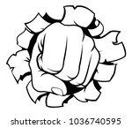 a pop art cartoon fist hand...   Shutterstock .eps vector #1036740595
