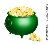 green iron cauldron full of... | Shutterstock .eps vector #1036745041