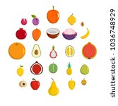fruits icons set. flat... | Shutterstock . vector #1036748929
