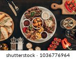 top view of plate with beef... | Shutterstock . vector #1036776964