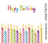 colored candles with different... | Shutterstock .eps vector #1036778734
