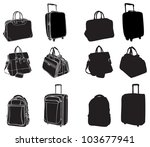 Set Of Black Silhouettes Bags...