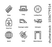 9 airport line icons | Shutterstock .eps vector #1036779514