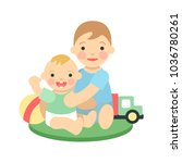 icon with two children.... | Shutterstock .eps vector #1036780261