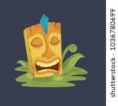 funny cartoon tiki mask vector... | Shutterstock .eps vector #1036780699