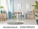 tall ficus in spacious dining... | Shutterstock . vector #1036785031