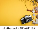 camera  watches and seashells... | Shutterstock . vector #1036785145
