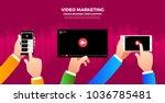 flat design vlog concept.... | Shutterstock .eps vector #1036785481