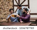 three guys watch the match... | Shutterstock . vector #1036787785