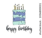 happy birthday. hand drawn... | Shutterstock .eps vector #1036800031