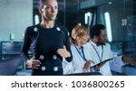 woman athlete runs on a... | Shutterstock . vector #1036800265