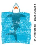 shark in ocean blue waves... | Shutterstock .eps vector #1036800355