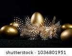 creatively lit golden goose... | Shutterstock . vector #1036801951