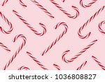 pattern of hard candy cane... | Shutterstock . vector #1036808827