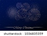 firework show on blue night sky ... | Shutterstock . vector #1036835359