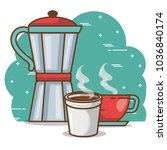 delicious coffee time elements | Shutterstock .eps vector #1036840174