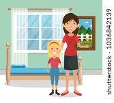 family parents in bedroom scene | Shutterstock .eps vector #1036842139
