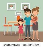 family parents in dinning room... | Shutterstock .eps vector #1036843225