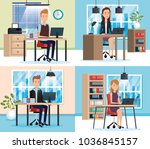 people working in the office | Shutterstock .eps vector #1036845157