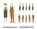 front  side  back view animated ... | Shutterstock .eps vector #1036883107