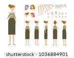 elderly woman character...   Shutterstock .eps vector #1036884901