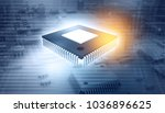 3d illustration of ic chip on... | Shutterstock . vector #1036896625