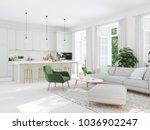 3d rendering. modern living... | Shutterstock . vector #1036902247