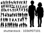 vector silhouette of  children... | Shutterstock .eps vector #1036907101