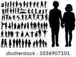 vector silhouette of  children... | Shutterstock .eps vector #1036907101