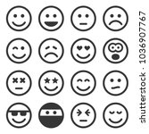 monochrome smile icons set on... | Shutterstock .eps vector #1036907767