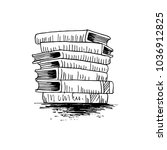stack of books sketch | Shutterstock .eps vector #1036912825