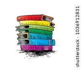 stack of books sketch | Shutterstock .eps vector #1036912831