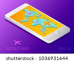 world map on the smartphone...