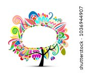 floral magic tree  sketch for... | Shutterstock .eps vector #1036944907