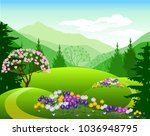 vector illustration. alpine... | Shutterstock .eps vector #1036948795
