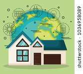 environmental and ecology set... | Shutterstock .eps vector #1036958089