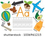 letter a. learning english... | Shutterstock .eps vector #1036961215