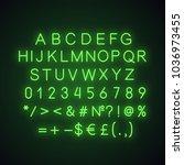green alphabet  numbers and... | Shutterstock . vector #1036973455