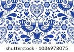 scandinavian seamless folk art... | Shutterstock .eps vector #1036978075