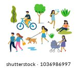 people in urban park outdoor... | Shutterstock .eps vector #1036986997