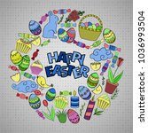 colorful vector of easter... | Shutterstock .eps vector #1036993504