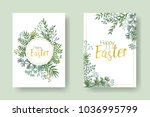 happy easter vector cards with... | Shutterstock .eps vector #1036995799