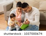 family  parenthood and people... | Shutterstock . vector #1037000674