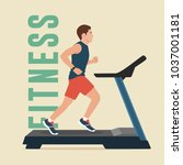 man running on treadmill | Shutterstock .eps vector #1037001181