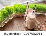 mason jars with protein shakes...   Shutterstock . vector #1037002051