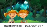 cartoon scene with boy and girl ... | Shutterstock . vector #1037004397